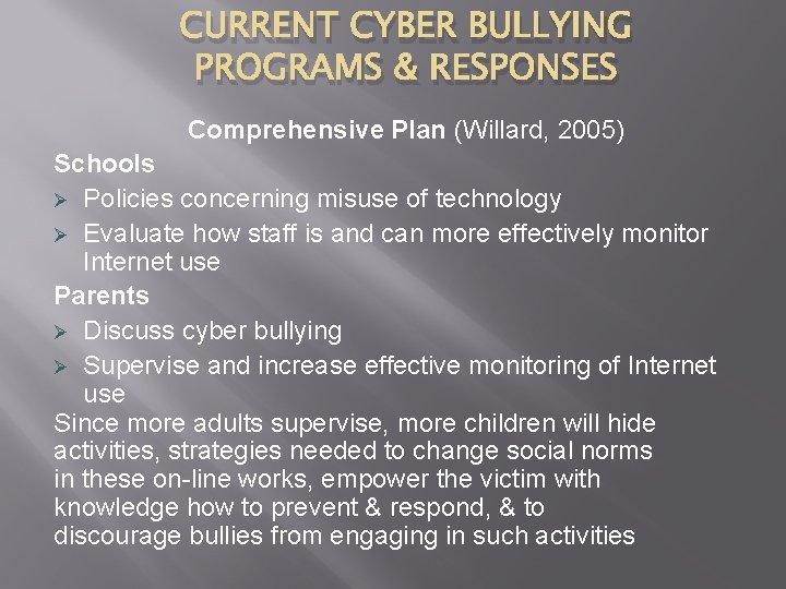 CURRENT CYBER BULLYING PROGRAMS & RESPONSES Comprehensive Plan (Willard, 2005) Schools Ø Policies concerning