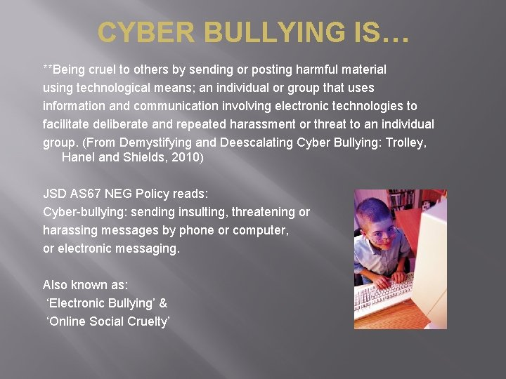 CYBER BULLYING IS… **Being cruel to others by sending or posting harmful material using