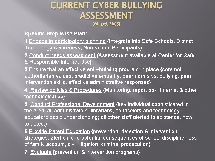CURRENT CYBER BULLYING ASSESSMENT (Willard, 2005) Specific Step Wise Plan: 1 Engage in participatory