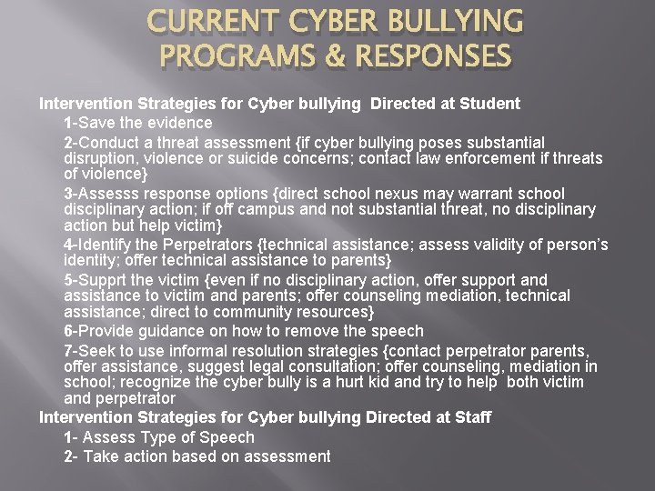 CURRENT CYBER BULLYING PROGRAMS & RESPONSES Intervention Strategies for Cyber bullying Directed at Student