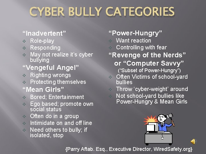 """CYBER BULLY CATEGORIES """"Inadvertent"""" v v v Role-play Responding May not realize it's cyber"""