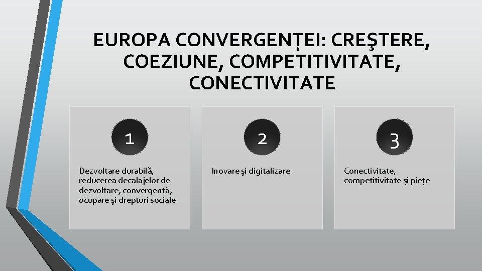 EUROPA CONVERGENȚEI: CREŞTERE, COEZIUNE, COMPETITIVITATE, CONECTIVITATE 1 Dezvoltare durabilă, reducerea decalajelor de dezvoltare, convergență,
