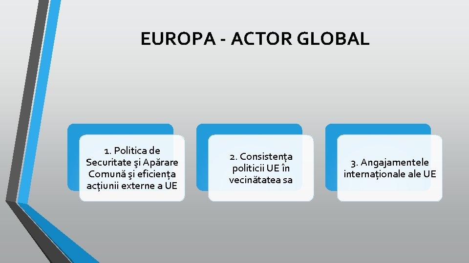 EUROPA - ACTOR GLOBAL 1. Politica de Securitate şi Apărare Comună şi eficiența acțiunii