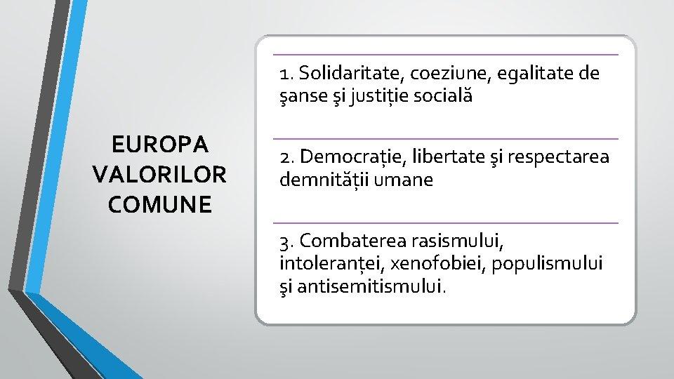 1. Solidaritate, coeziune, egalitate de şanse şi justiție socială EUROPA VALORILOR COMUNE 2. Democrație,