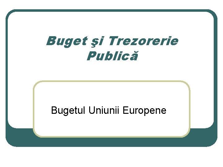 Buget şi Trezorerie Publică Bugetul Uniunii Europene