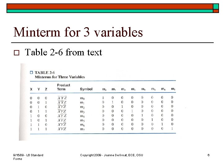 Minterm for 3 variables o Table 2 -6 from text 9/15/09 - L 6