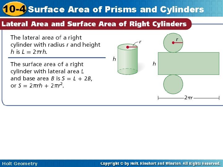 10 -4 Surface Area of Prisms and Cylinders Holt Geometry