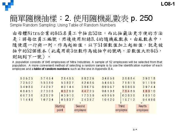 LO 8 -1 簡單隨機抽樣: 2. 使用隨機亂數表 p. 250 Simple Random Sampling: Using Table of