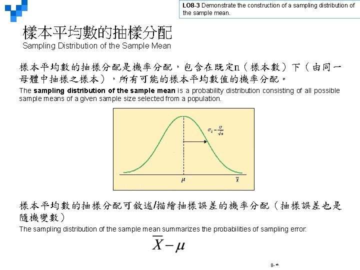 LO 8 -3 Demonstrate the construction of a sampling distribution of the sample mean.