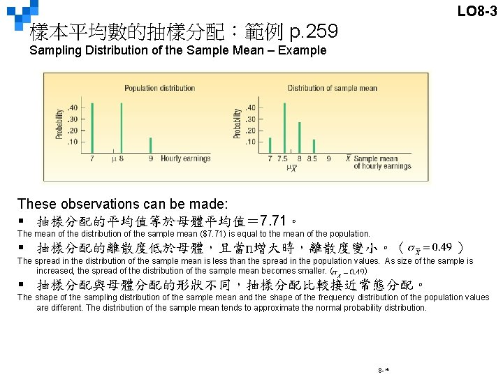 LO 8 -3 樣本平均數的抽樣分配:範例 p. 259 Sampling Distribution of the Sample Mean – Example
