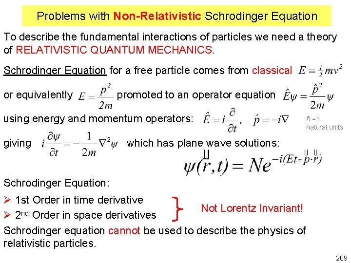 Problems with Non-Relativistic Schrodinger Equation To describe the fundamental interactions of particles we need
