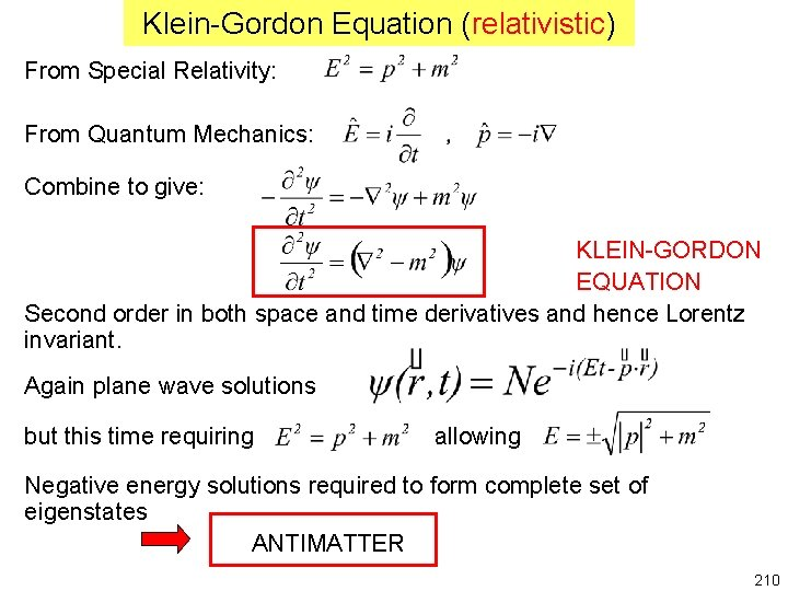 Klein-Gordon Equation (relativistic) From Special Relativity: From Quantum Mechanics: Combine to give: KLEIN-GORDON EQUATION