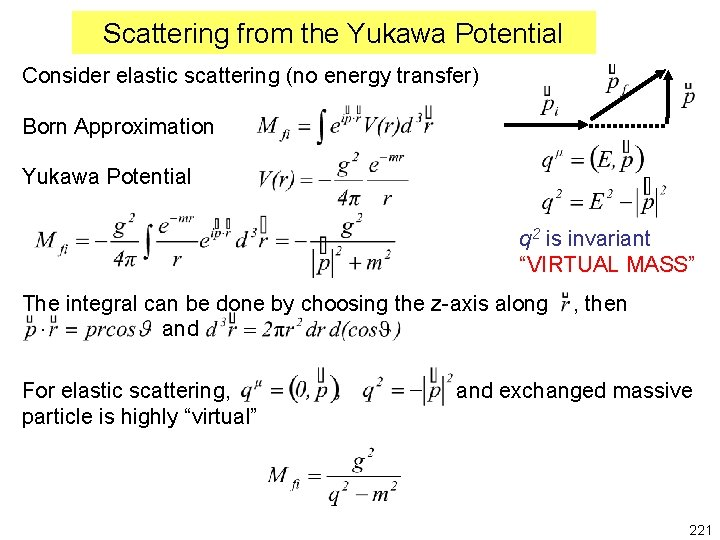 Scattering from the Yukawa Potential Consider elastic scattering (no energy transfer) Born Approximation Yukawa