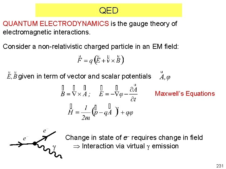 QED QUANTUM ELECTRODYNAMICS is the gauge theory of electromagnetic interactions. Consider a non-relativistic charged