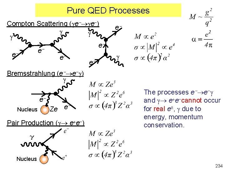 Pure QED Processes Compton Scattering (ge ge-) g g g e e e e