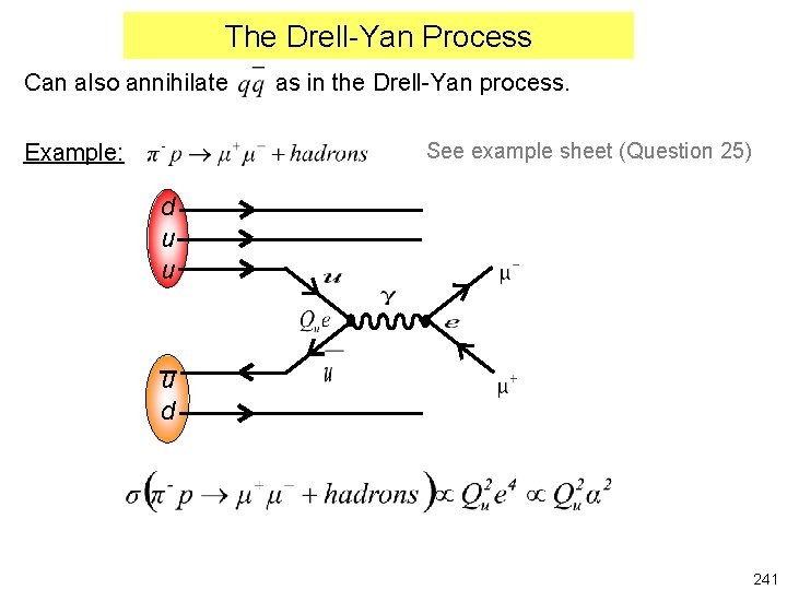 The Drell-Yan Process Can also annihilate as in the Drell-Yan process. See example sheet