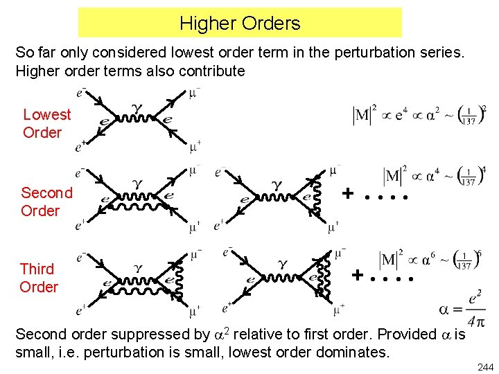 Higher Orders So far only considered lowest order term in the perturbation series. Higher