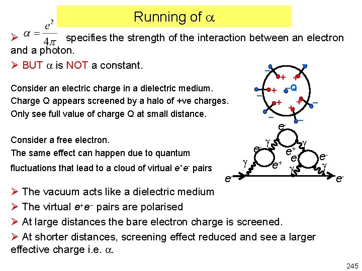 Running of Ø specifies the strength of the interaction between an electron and a
