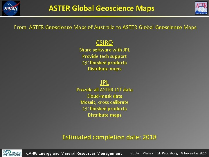 ASTER Global Geoscience Maps From ASTER Geoscience Maps of Australia to ASTER Global Geoscience