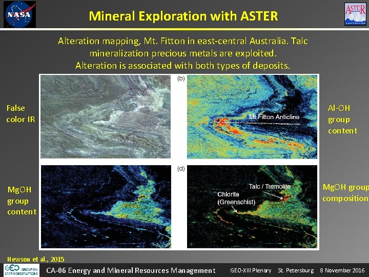 Mineral Exploration with ASTER Alteration mapping, Mt. Fitton in east-central Australia. Talc mineralization precious