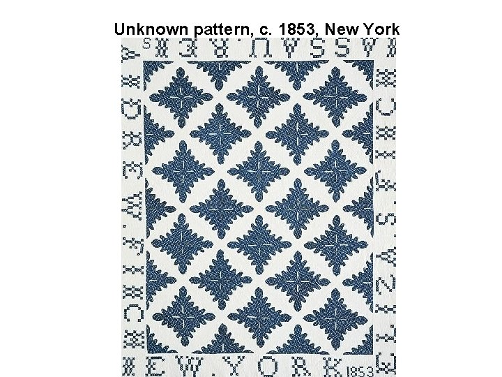 Unknown pattern, c. 1853, New York