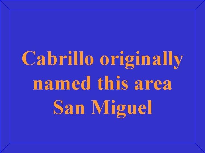 Cabrillo originally named this area San Miguel