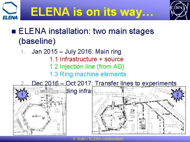 ELENA is on its way… n ELENA installation: two main stages (baseline) 1. 2.
