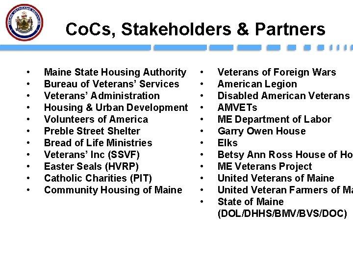 Co. Cs, Stakeholders & Partners • • • Maine State Housing Authority Bureau of