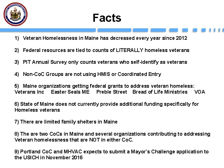 Facts 1) Veteran Homelessness in Maine has decreased every year since 2012 2) Federal