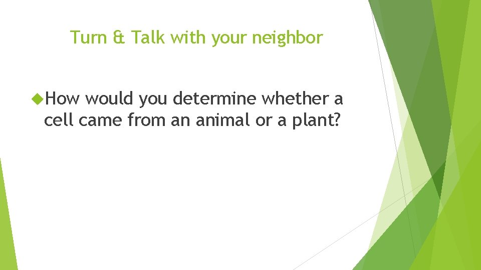 Turn & Talk with your neighbor How would you determine whether a cell came