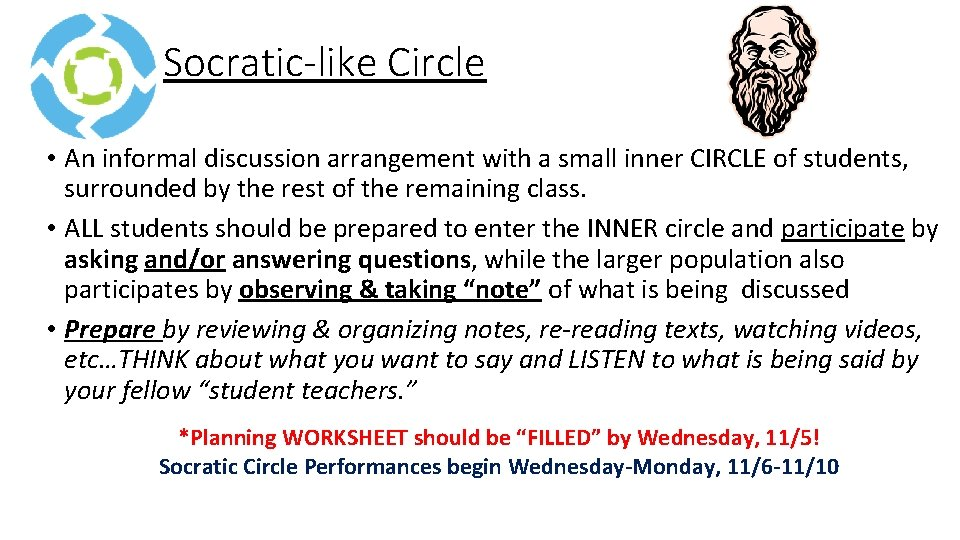 Socratic like Circle • An informal discussion arrangement with a small inner CIRCLE of