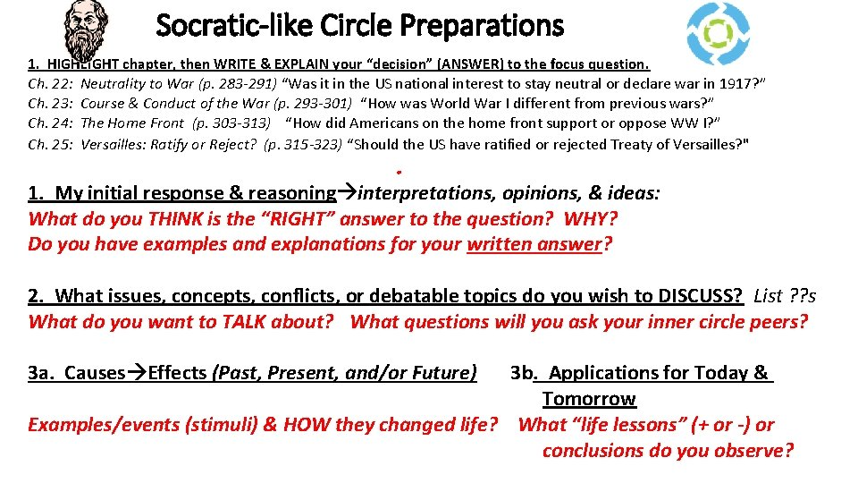 """Socratic-like Circle Preparations 1. HIGHLIGHT chapter, then WRITE & EXPLAIN your """"decision"""" (ANSWER) to"""
