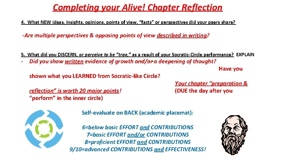 Completing your Alive! Chapter Reflection 4. What NEW ideas, insights, opinions, points of view,