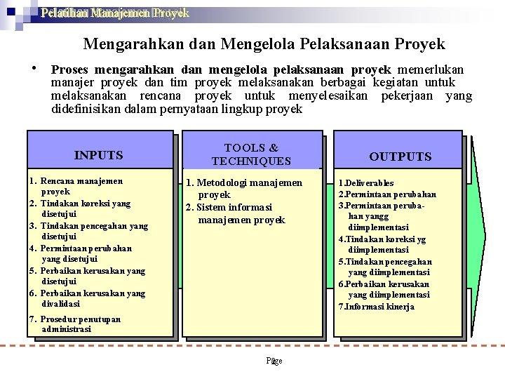 Pelatihan Manajemen Proyek Mengarahkan dan Mengelola Pelaksanaan Proyek • Proses mengarahkan dan mengelola pelaksanaan