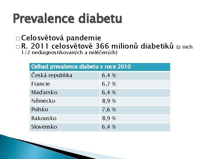 Prevalence diabetu � Celosvětová pandemie � R. 2011 celosvětově 366 milionů diabetiků 1/2 nediagnostikovaných