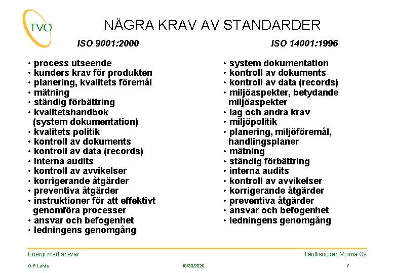 NÅGRA KRAV AV STANDARDER ISO 9001: 2000 ISO 14001: 1996 • process utseende •