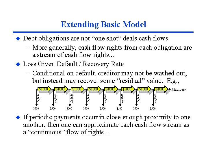 "Extending Basic Model u u Debt obligations are not ""one shot"" deals cash flows"