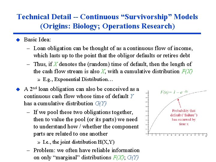 "Technical Detail -- Continuous ""Survivorship"" Models (Origins: Biology; Operations Research) u Basic Idea: –"