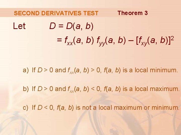 SECOND DERIVATIVES TEST Let Theorem 3 D = D(a, b) = fxx(a, b) fyy(a,