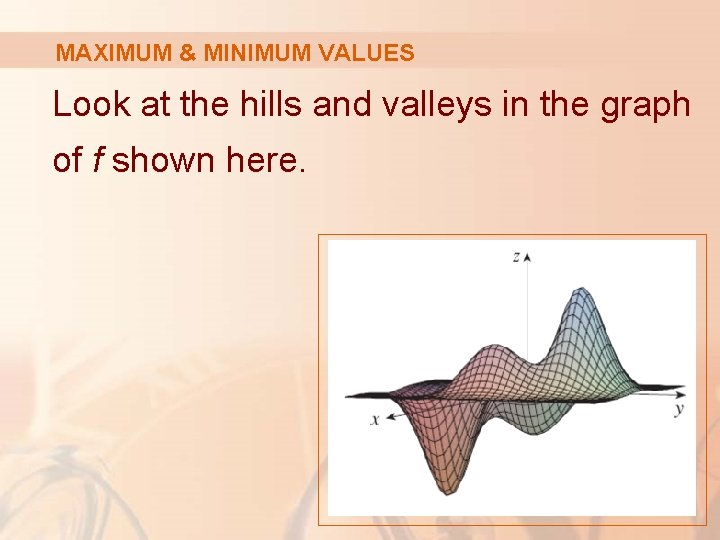 MAXIMUM & MINIMUM VALUES Look at the hills and valleys in the graph of