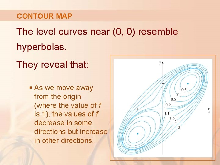 CONTOUR MAP The level curves near (0, 0) resemble hyperbolas. They reveal that: §