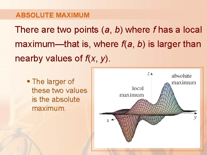 ABSOLUTE MAXIMUM There are two points (a, b) where f has a local maximum—that