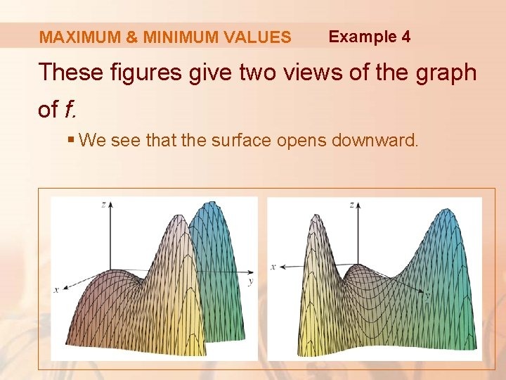 MAXIMUM & MINIMUM VALUES Example 4 These figures give two views of the graph