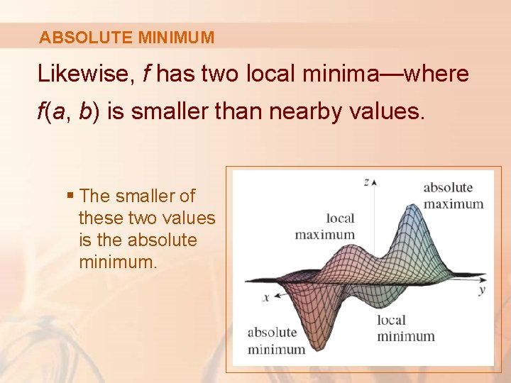 ABSOLUTE MINIMUM Likewise, f has two local minima—where f(a, b) is smaller than nearby