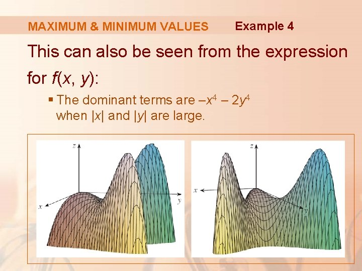 MAXIMUM & MINIMUM VALUES Example 4 This can also be seen from the expression