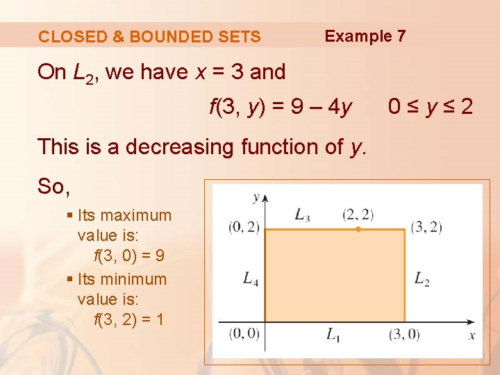 CLOSED & BOUNDED SETS Example 7 On L 2, we have x = 3