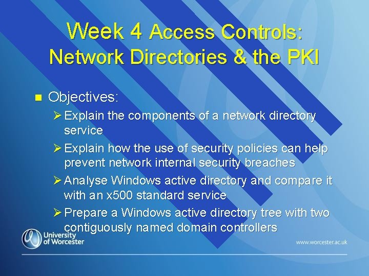 Week 4 Access Controls: Network Directories & the PKI n Objectives: Ø Explain the