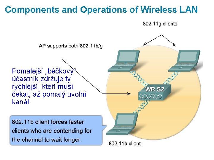 """Components and Operations of Wireless LAN Pomalejší """"béčkový"""" účastník zdržuje ty rychlejší, kteří musí"""