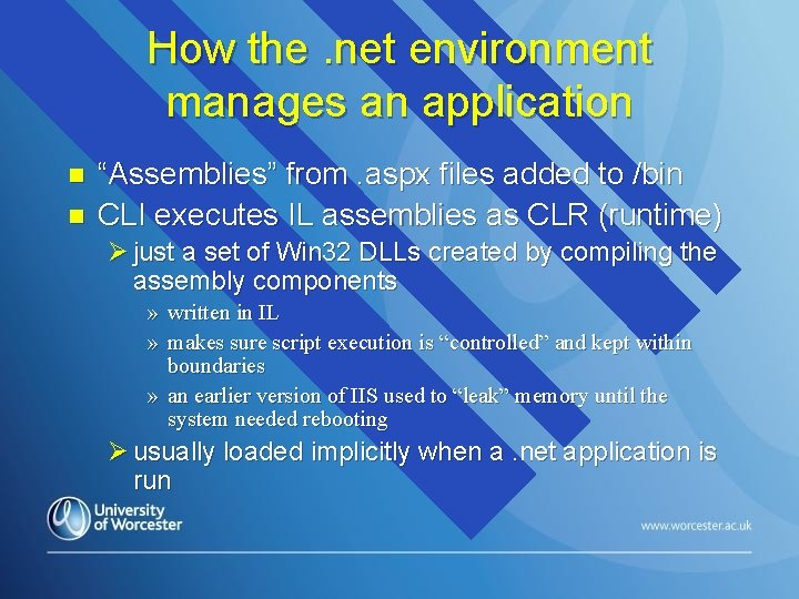 """How the. net environment manages an application n n """"Assemblies"""" from. aspx files added"""