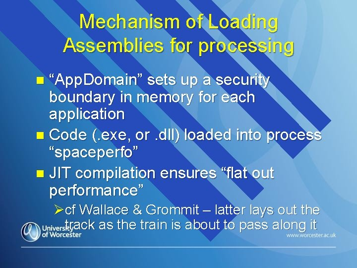 """Mechanism of Loading Assemblies for processing """"App. Domain"""" sets up a security boundary in"""